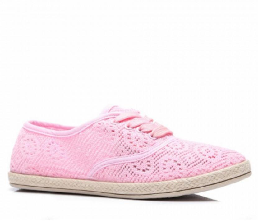 Stylové krajkové tenisky růžové - B750-20P