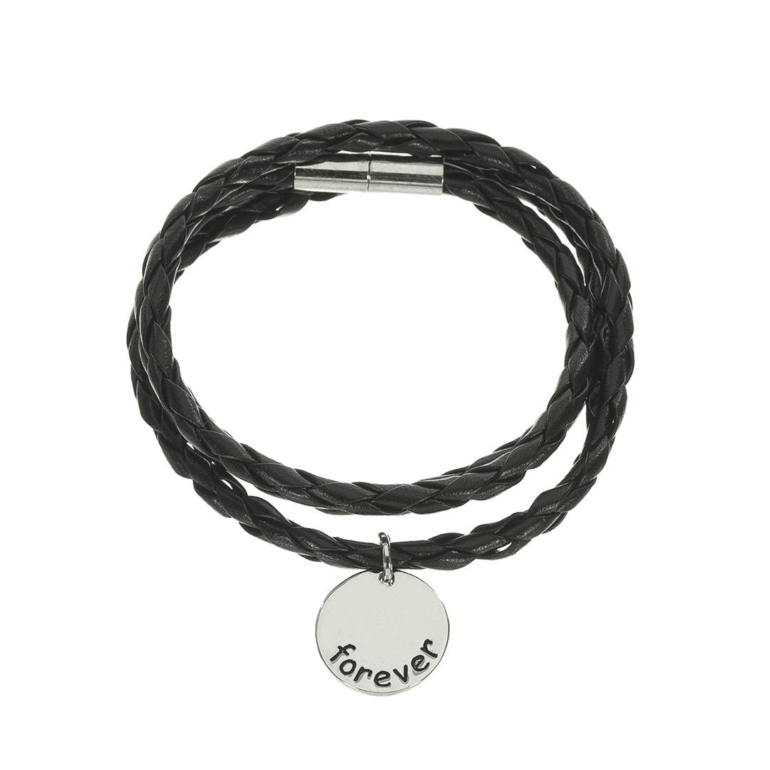 Kožený černý náramek 102597-1C