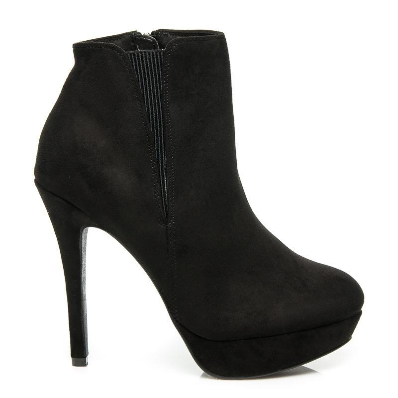 Elegantní semišové boty na platformě - 4084-1B