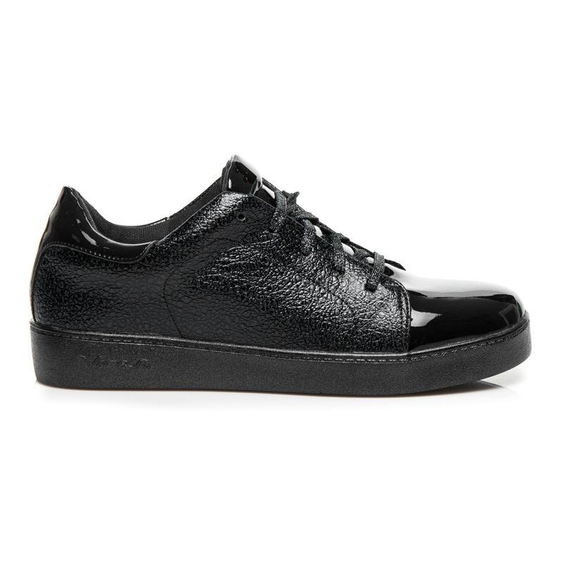 Elegantní černé tenisky na platformě - 7100-1B