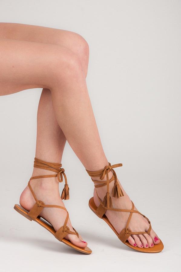 Vázací hnědé sandálky ploché - 1051-17C