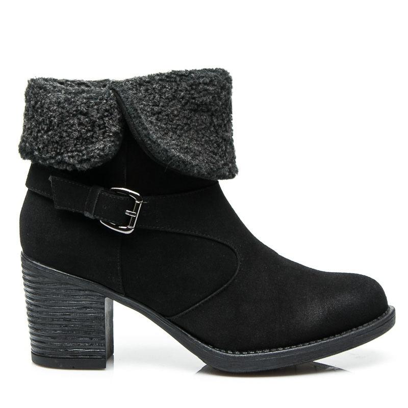 Dámské kotníkové boty s pásky a kožíškem černé- 52136B