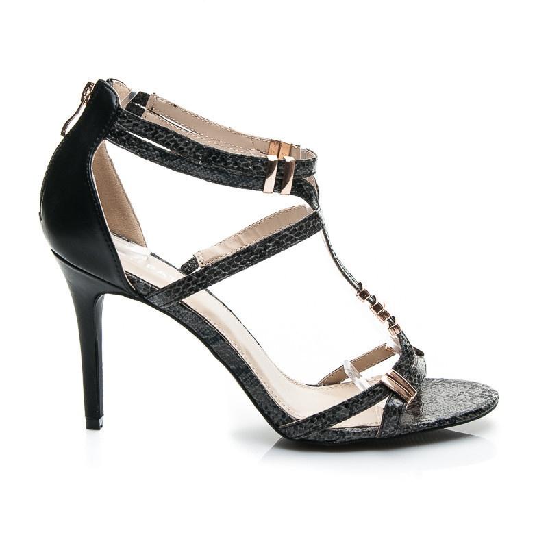 Luxusní dámské sandálky černé ME008B