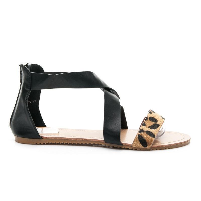 Ploché sandálky černé A691B