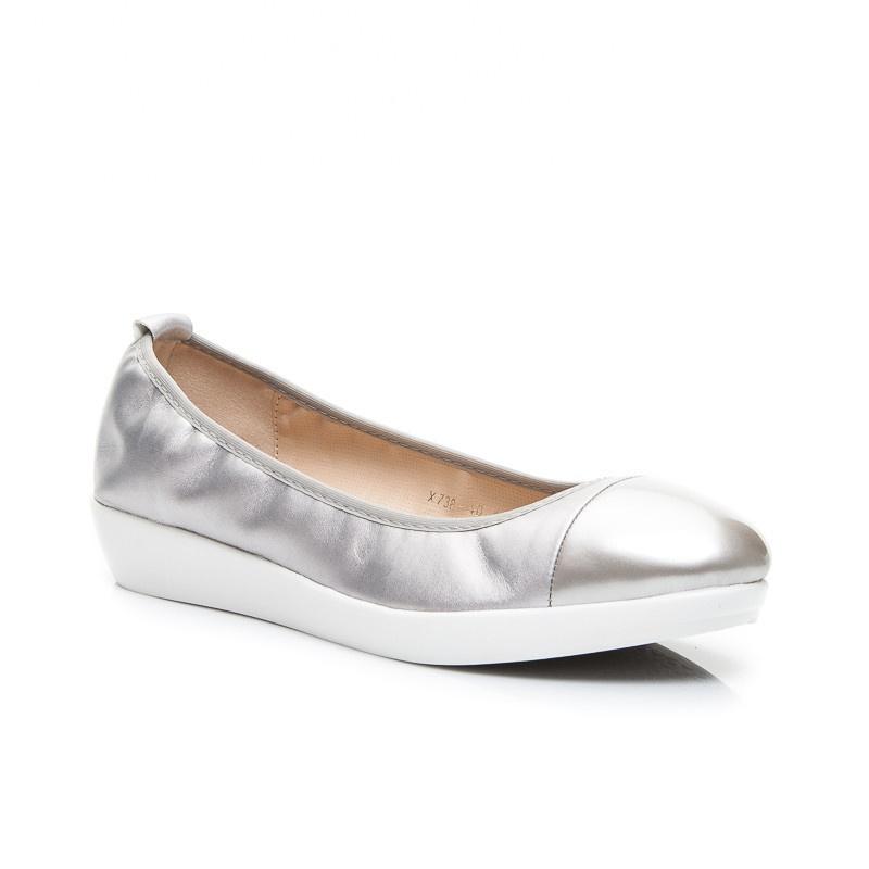 Pohodlné dámské balerínky stříbrné X738S