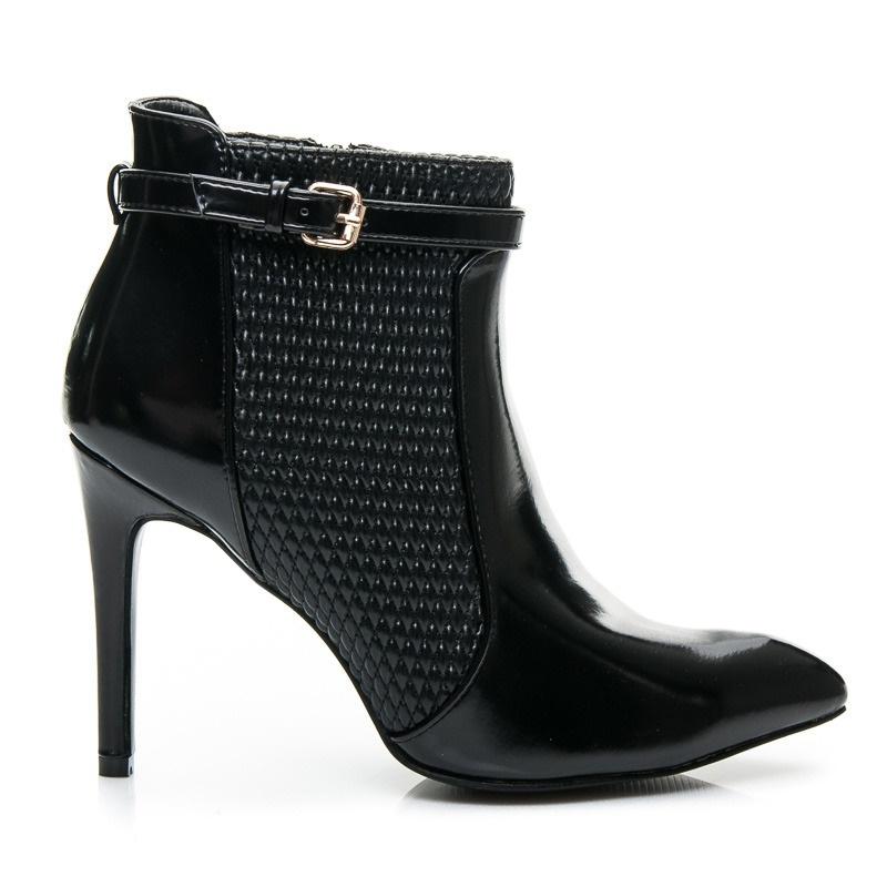 Kožené boty na jehlovém podpatku - L900B