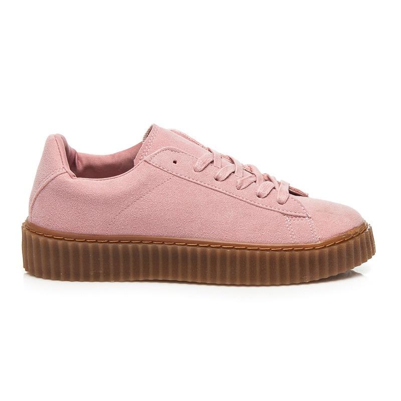 Luxusní růžové tenisky na platformě - 8150-20P