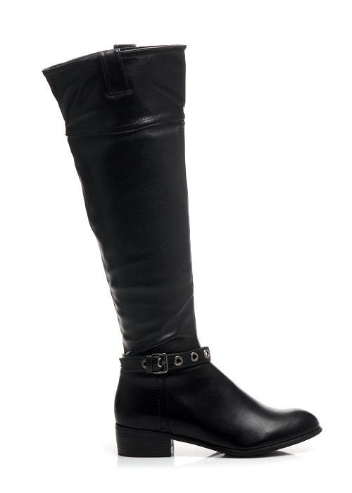 Luxusní kozačky černé X452B