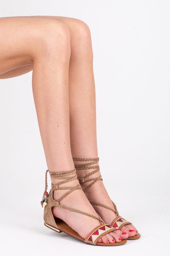 Ploché šněrovací sandálky béžové - 8130-14BE