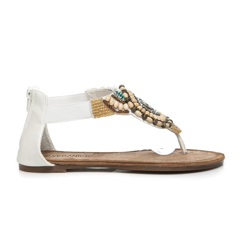 Ploché bílé sandálky indian - LS026W