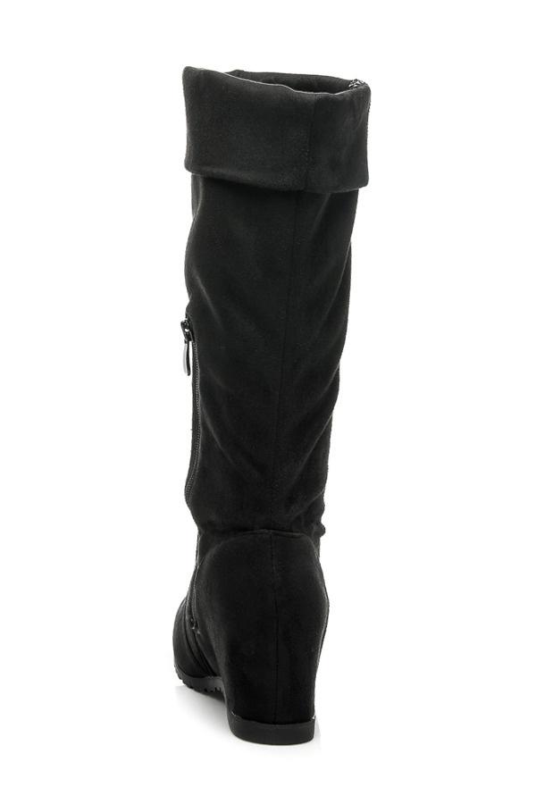 Luxusní semišové kozačky na klínku černé - B731B