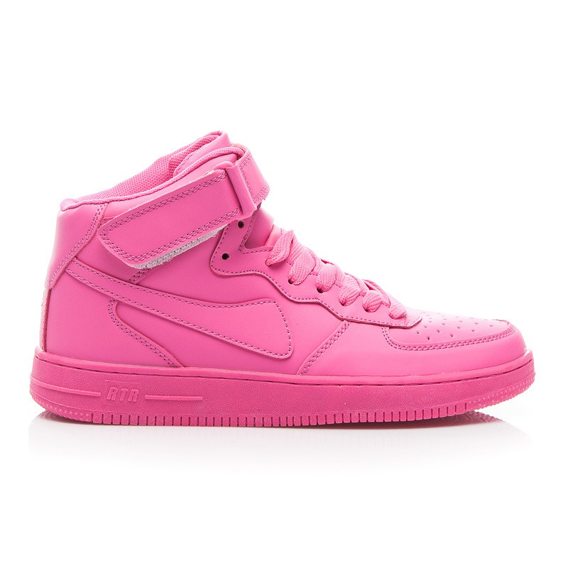 Vysoké dámské sportovní boty se suchým zipem růžové - B732F