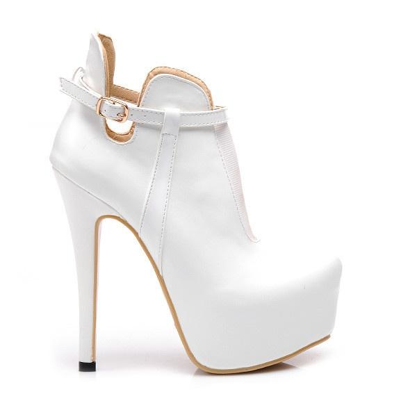 Bílé kotníkové boty CUT OUT Z029W