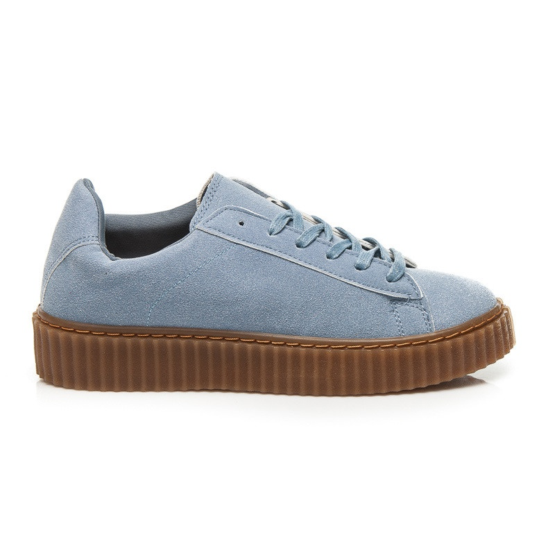Luxusní modré tenisky na platformě - 8150-11BL