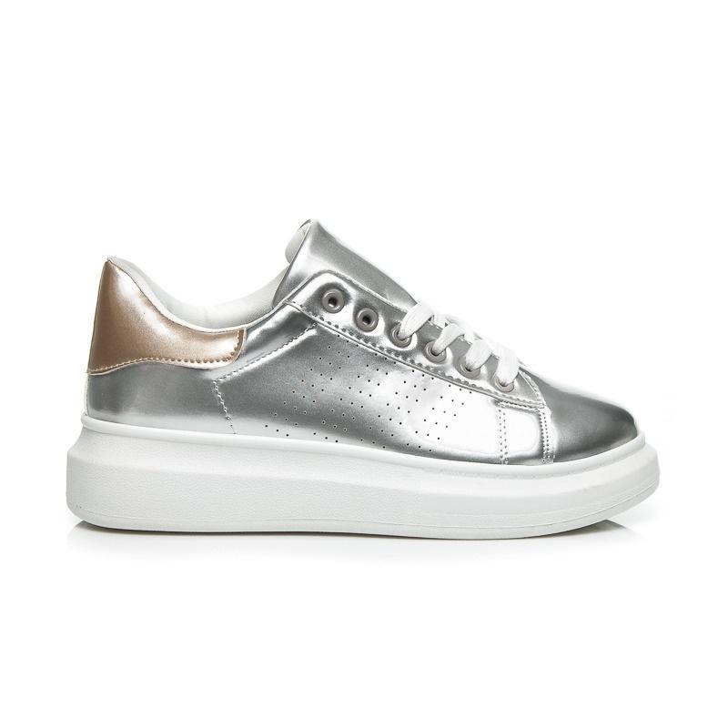 Exkluzivní stříbrné tenisky na platformě - 55504S/GO