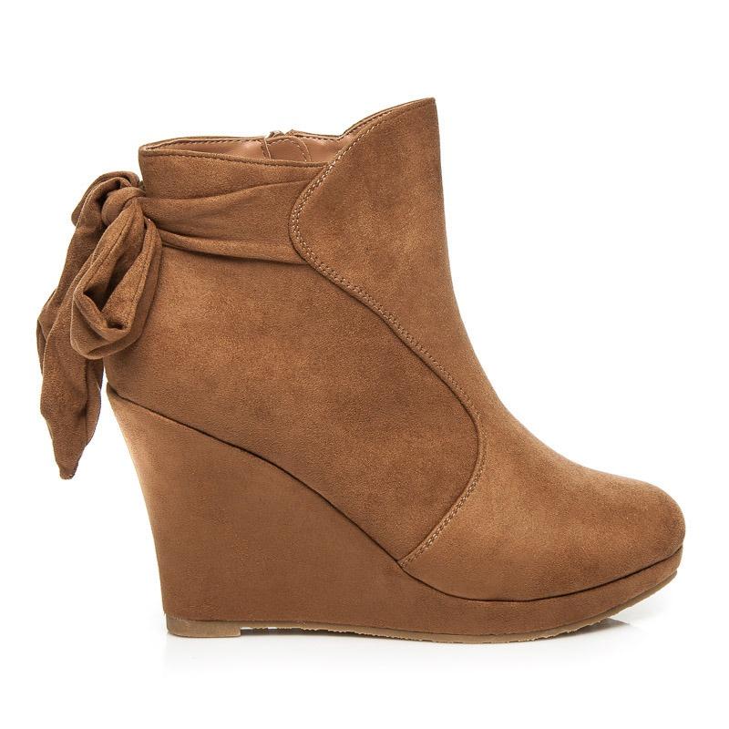 Luxusní béžové boty na klínu - 4081-14BE