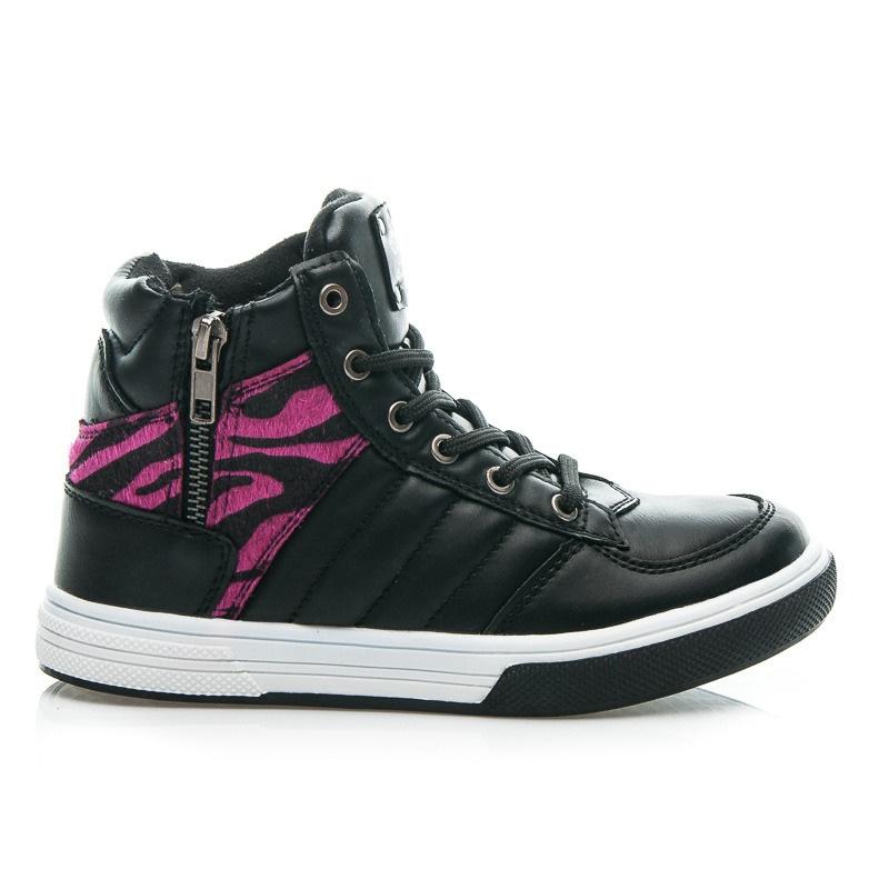 Vysoké dětské sportovní boty se zvířecím vzorem černé - K151238B.F
