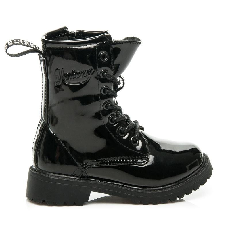 Dívčí kotníčkové boty s kožíškem černé - B683B