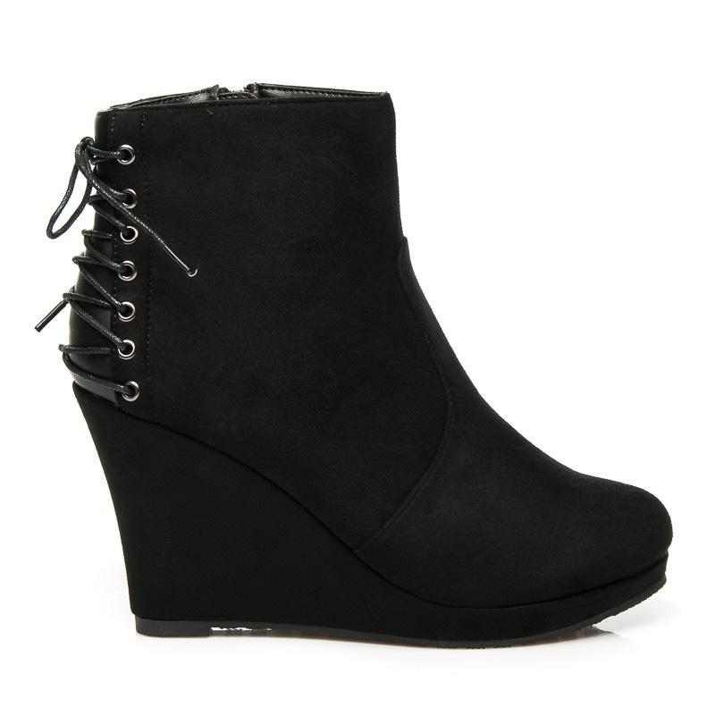 Luxusní semišové boty na klínu černé - C49B