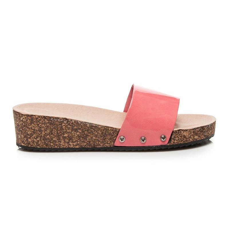 Lakované pantofle na platformě růžové - 9905-1P
