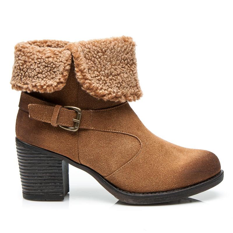 Dámské kotníkové boty s pásky a kožíškem béžové - 52136CA
