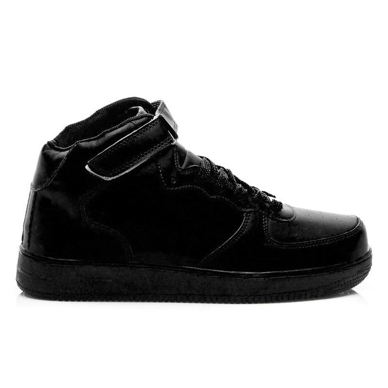 Dámské sportovní kožené boty černé - BK15642B