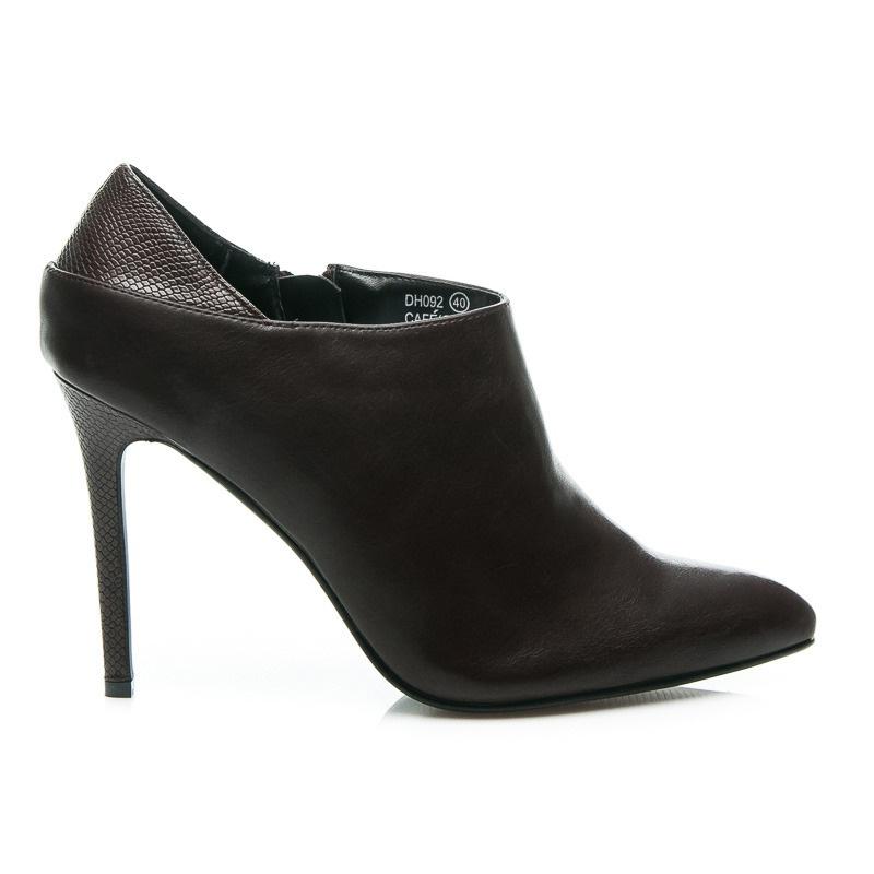 Dámské nízké boty na jehlovém podpatku hnědé - DH092COF / S2-118P