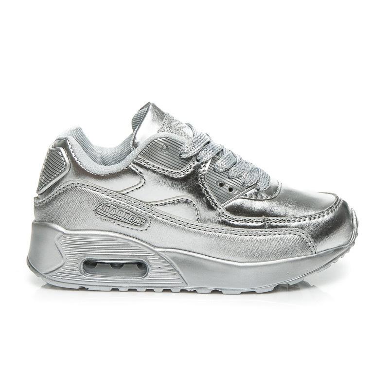 Pohodlné chlapecké tenisky stříbrné - B760S