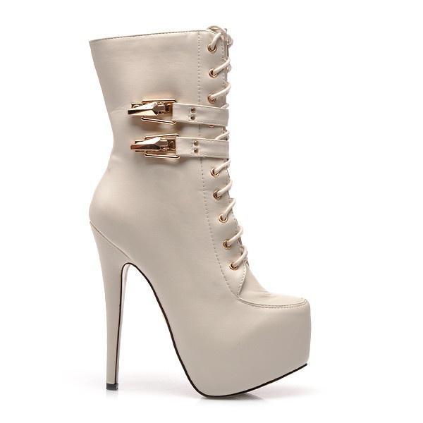 Luxusní bílé kotníkové boty QJ831BE