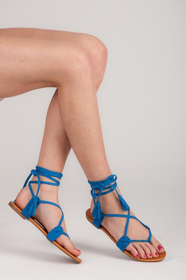 Vázací modré sandálky ploché - 1051-11BL