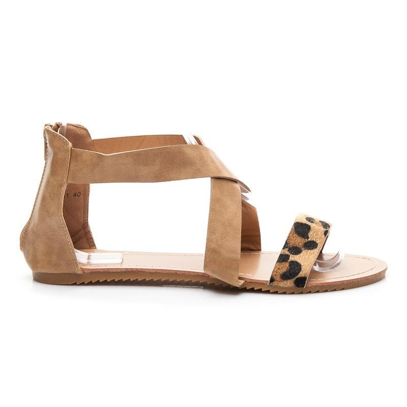 Ploché sandálky hnědé A691C
