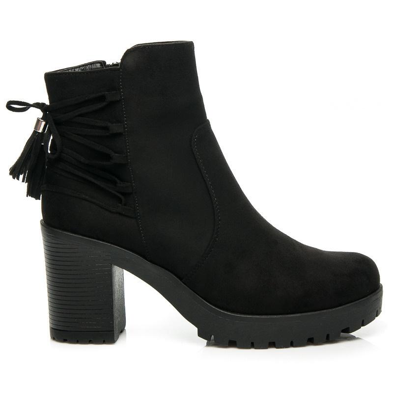 Luxusní kotníčkové boty na platformě černé - W127B