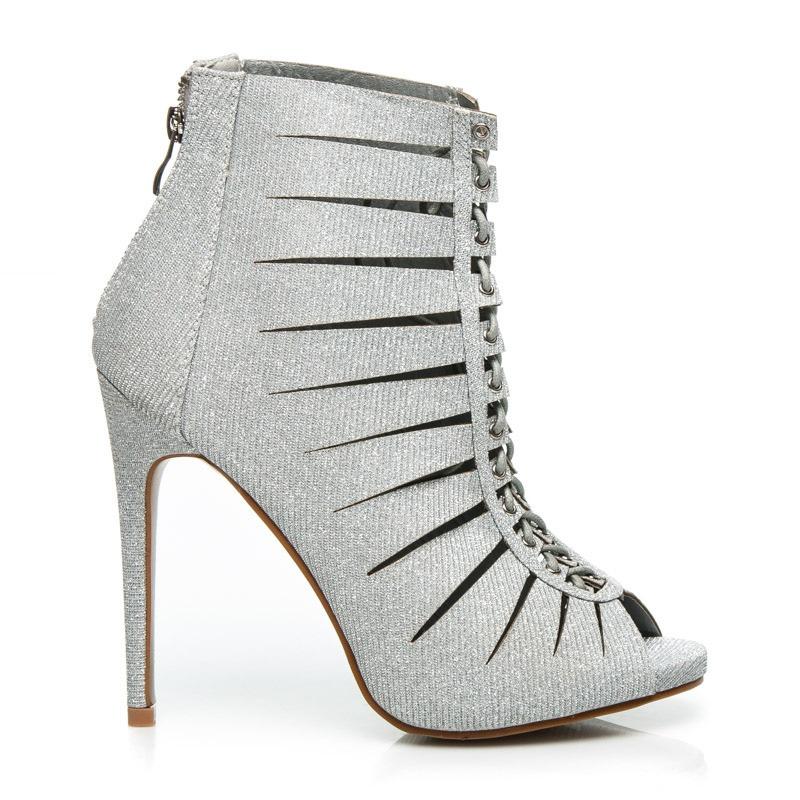 Luxusní stříbrné boty na podpatku - K522S