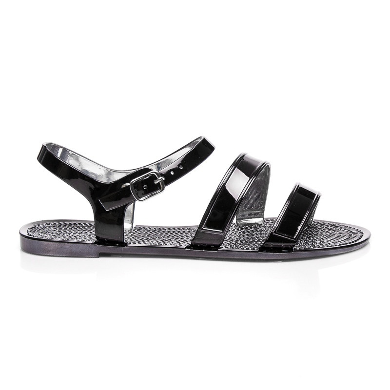 Lakované ploché sandálky černé - PT-9130B