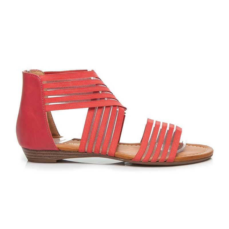 Ploché páskové sandálky červené - 55605CO