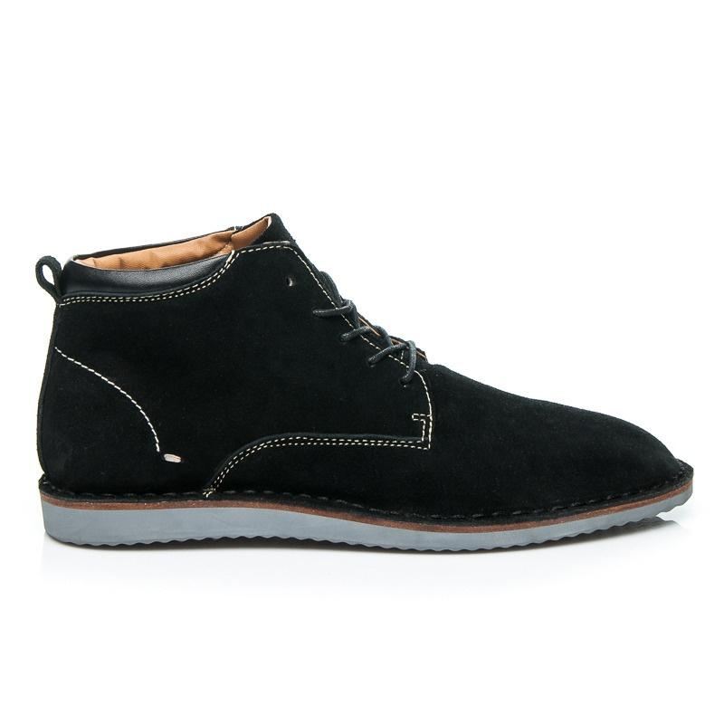 Pánské kožené boty černé - SH27-1B   44