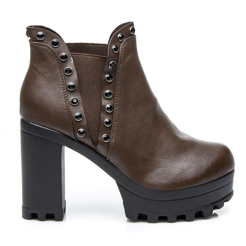 Dámské boty na platformě s kamínky - 52166BR