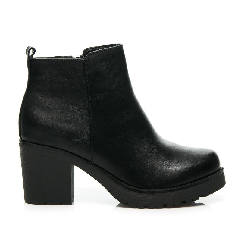 Luxusní kotníčkové boty na podpatku černé - 8H8558B