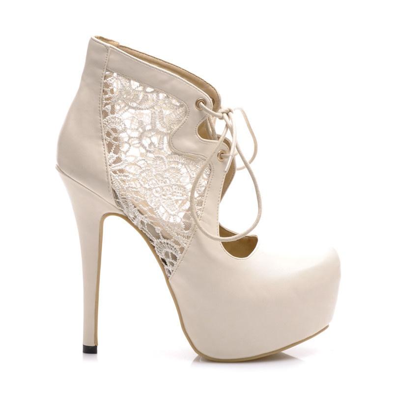 Jedinečné krajkové boty bílé Z023BE