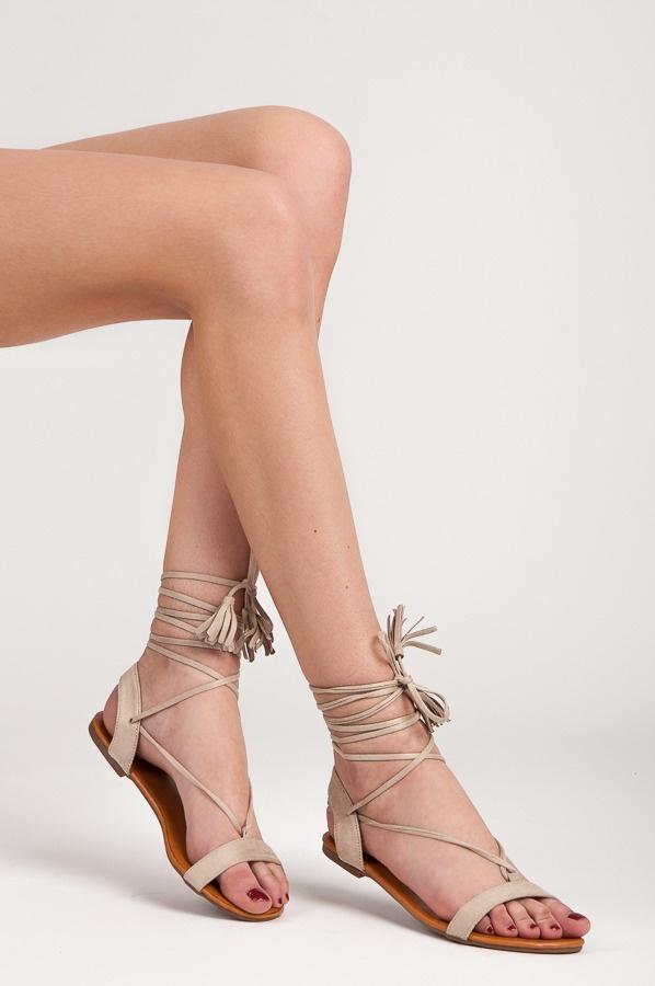 Ploché šněrovací sandálky béžové - 1041-14BE