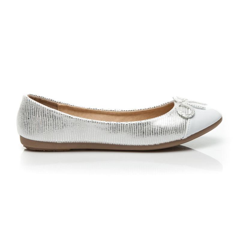 Luxusní třpytivé baleríny bílé - 883-22W