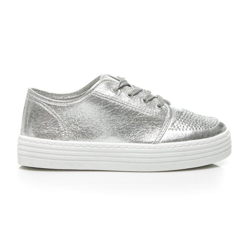 Parádní stříbrné tenisky na platformě - BHL6107S