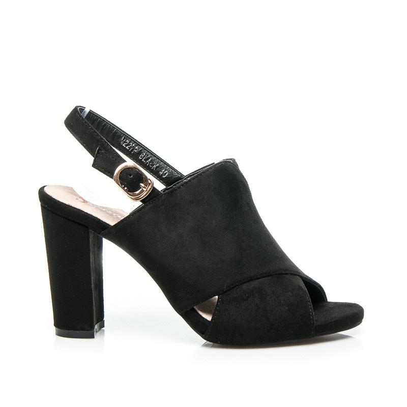Parádní semišové sandálky černé - M227-B | 36/3