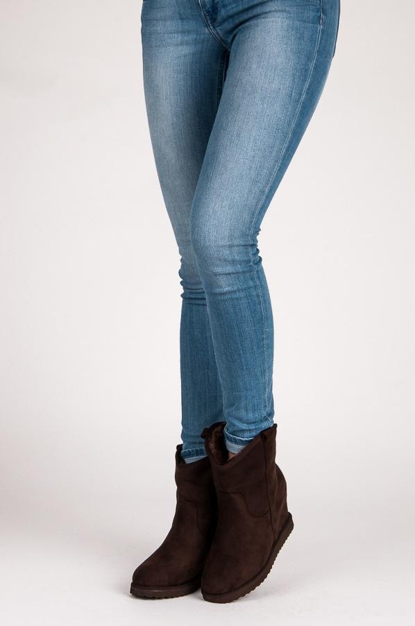 Semišové boty na klínu hnědé - 5072BR