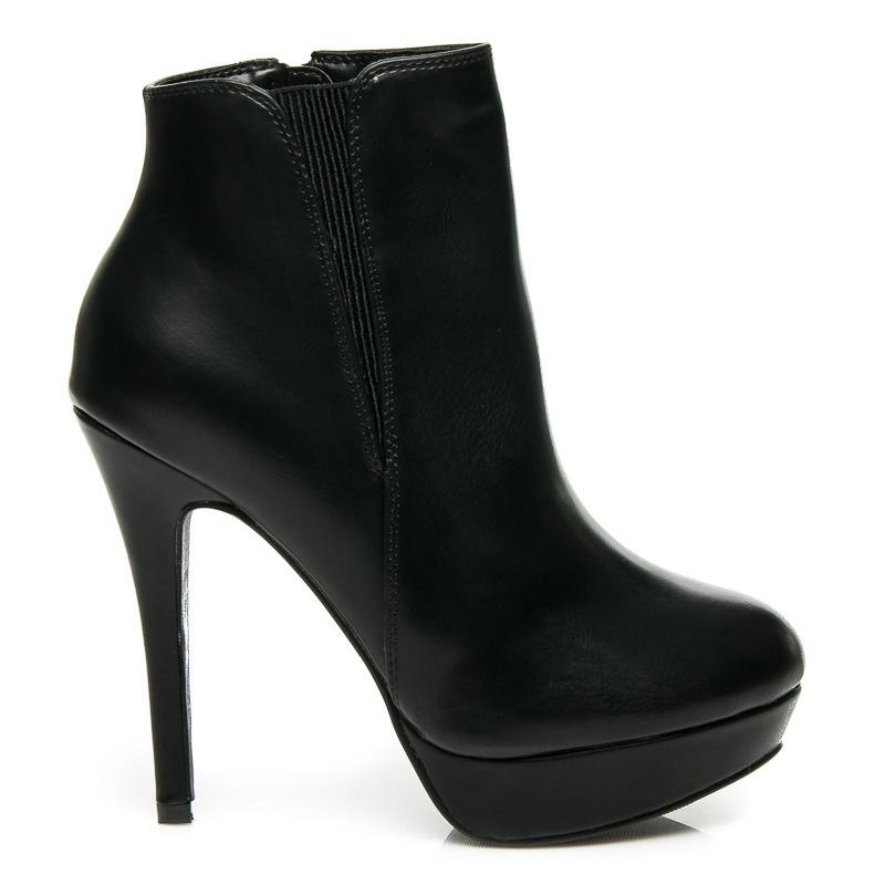 Luxusní černé boty na platformě - 4084A-1B