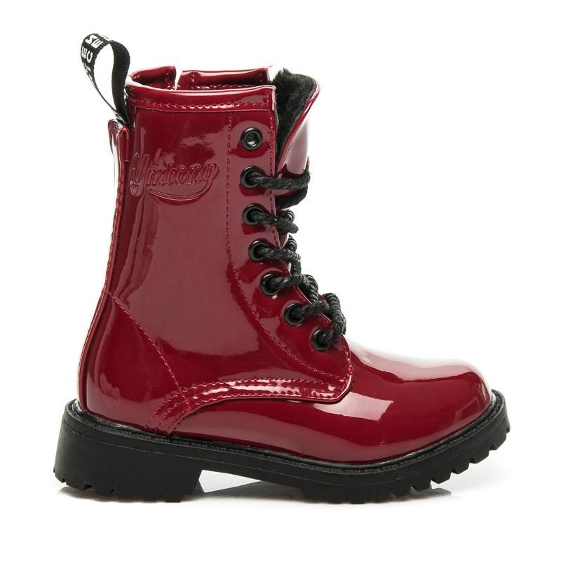 Dívčí kotníčkové boty s kožíškem červené - B683R