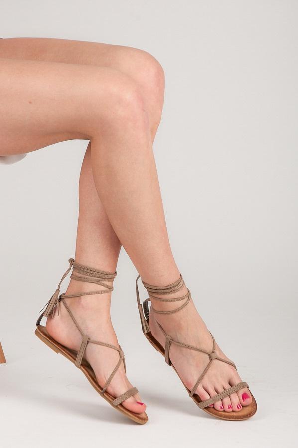 Ploché šněrovací sandálky hnědé - 6009-18KH