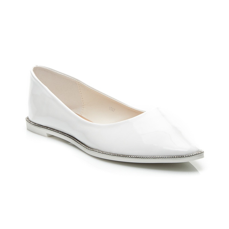 Krásné dámské balerínky bílé 1597W