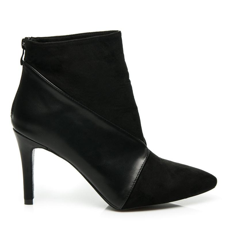 Módní boty na podpatku černé - 8154-1B