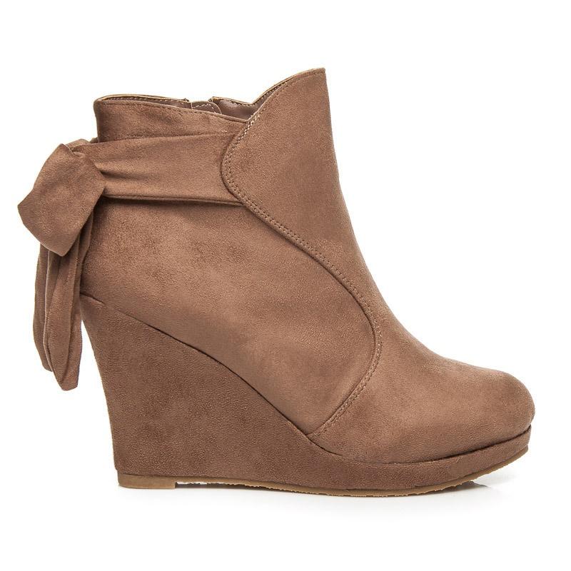 Luxusní hnědé boty na klínu - 4081-18KH